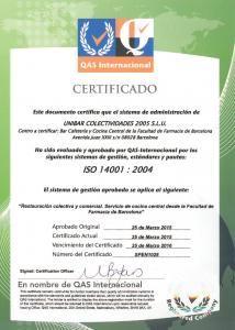 Certificado ISO 14001 2004 - Farmacia